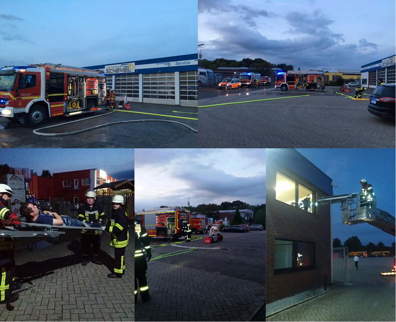 Freiwillige Feuerwehr Schüttorf Einsatz bei Autohaus Schevel