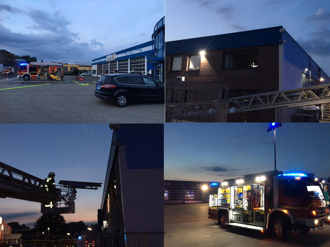 Feuerwehr Übung bei AUtohaus Schevel in Schüttorf Werkstr 1