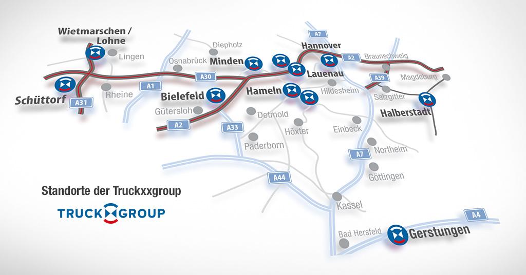 Die Standorte der Truckxxgroup
